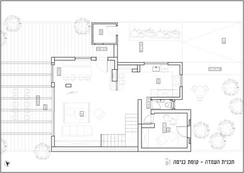 תוכנית קומת הכניסה, לאחר השיפוץ (תוכנית: איה ושני - תכנון ועיצוב פנים)