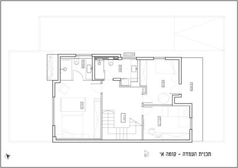 קומת חדרי השינה (תוכנית: איה ושני - תכנון ועיצוב פנים)