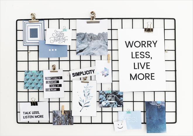 לוח השראה הוא ביטוי מוחשי לכל המשאלות שלנו, המהווים שלנו, הבקשות והרצונות שלנו לעתיד (צילום: Shutterstock)