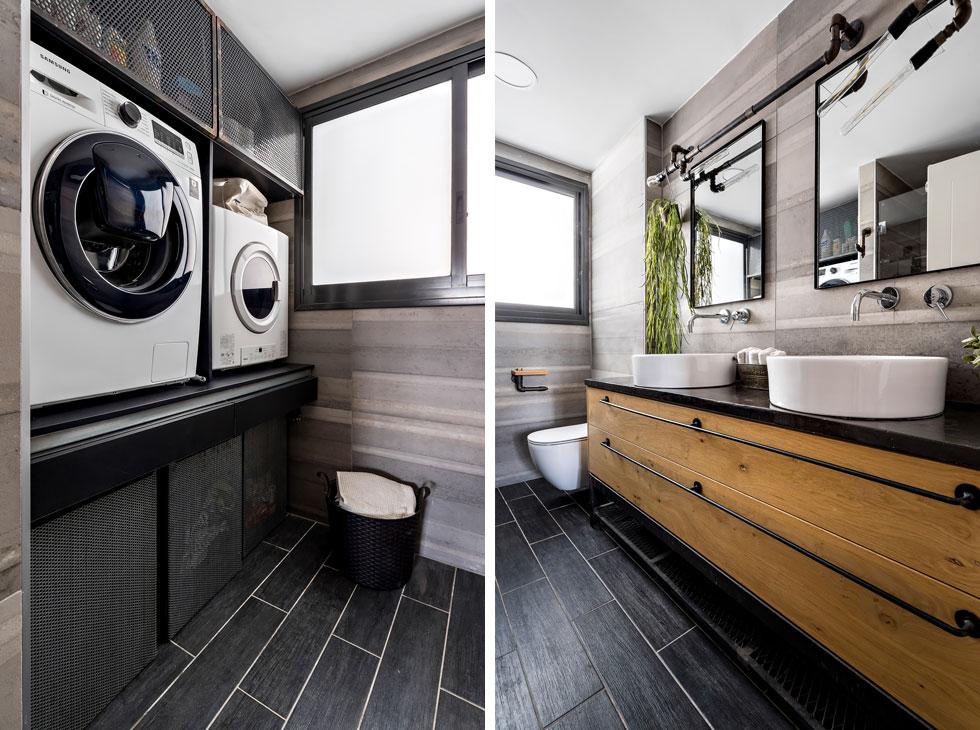 בחדר הרחצה של התאומים שני כיורים אישיים על ארון מעץ מלא, ומולם פינת כביסה עם דלתות רשת  (צילום: מאור מויאל)