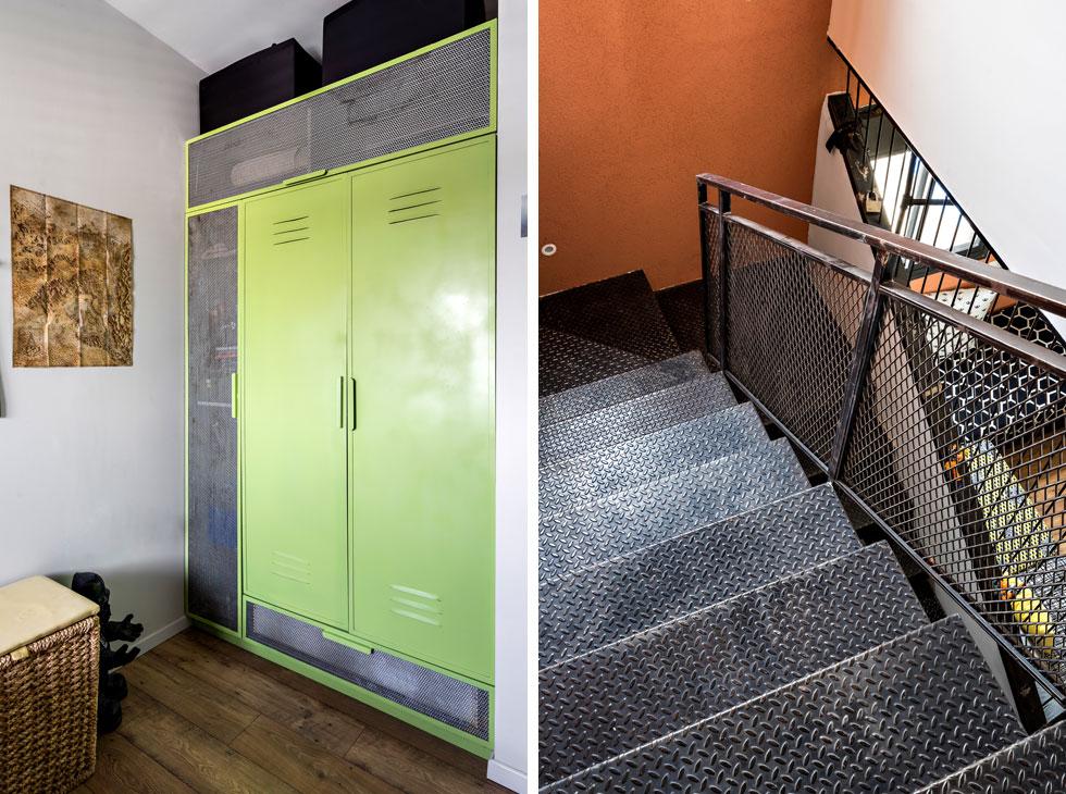 הסגנון החומרי ממשיך לכל חלקי הדירה. המדרגות כוסו בפח מרוג, ובחדרי הילדים תכננה המעצבת ארונות מברזל צבוע ורשת (צילום: מאור מויאל)