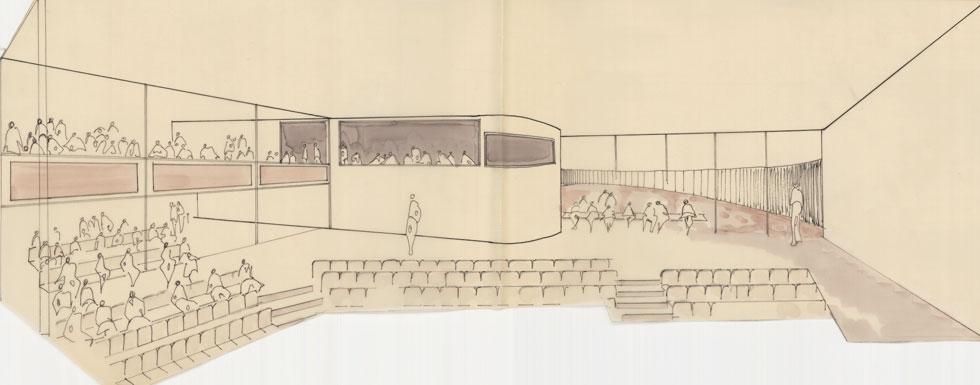 מקום לכ-500 איש (אוסף זיוה ארמוני, ארכיון אדריכלות ישראל)