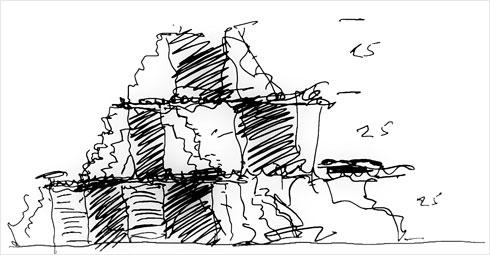 אחת הסקיצות של ספדיה (courtesy: Safdie Architects)