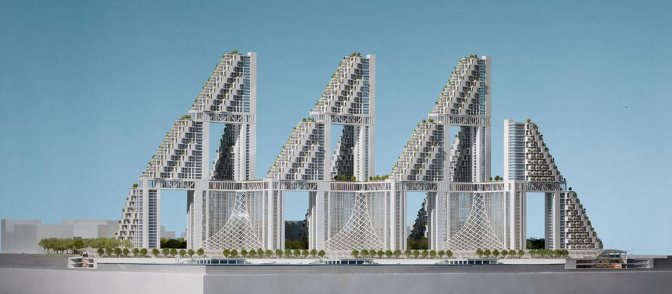 ''הביטאט של העתיד''. ספדיה וצוותו הכינו 4 קונספטים כאלה, בהתאמה ל-4 ערים שונות בעולם. את זה הוא מקווה להקים על גדות האיסט-ריבר, בברוקלין או בקווינס (courtesy: Safdie Architects)