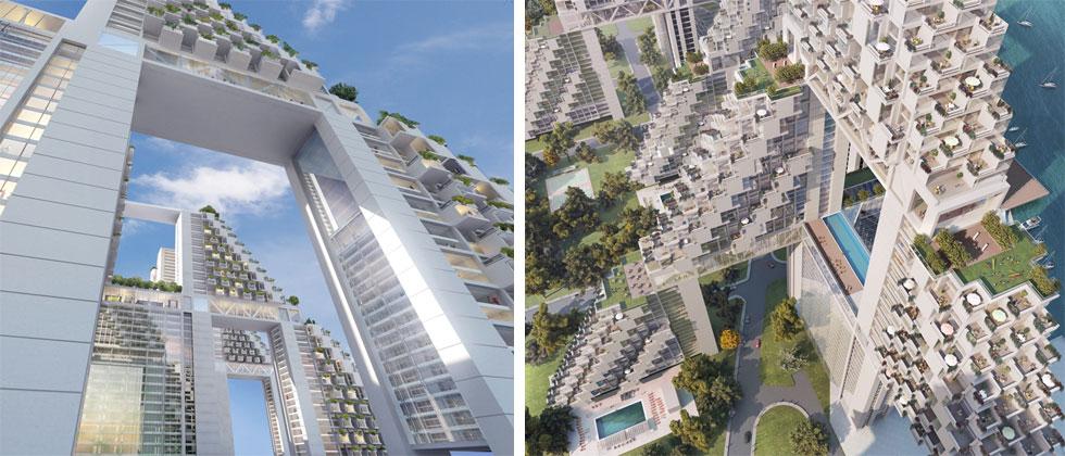 ספדיה, שמזוהה היום עם פרויקטים גרנדיוזיים של מלונאות ומגורים בסינגפור, מתכוון לבנות בהתאמה לטכניקות של היום: ''בנייה מתועשת, בטון ופלדה. המבנים יכולים לעמוד בהוריקן, בטייפון וברעידות אדמה. זו לא פנטזיה מהבחינה הזאת'' (courtesy: Safdie Architects)