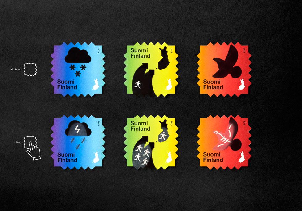 הנה שלושת הבולים בסדרה, שמועמדת לפרס עיצוב בינלאומי: שלום לחורפים המושלגים, שלום לבעלי חיים רבים, ושלום לבית של הרבה אנשים שייאלצו לנטוש אזורים לוהטים (Design: Berry Creative, Photography: Paavo Lehtonen)