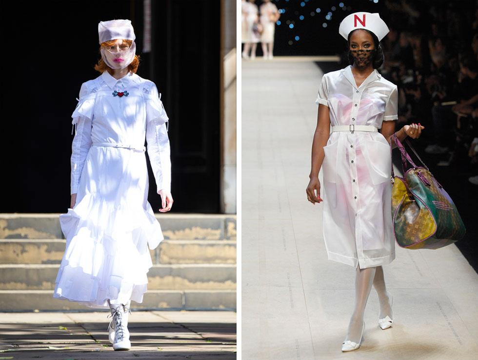 בית האופנה בורה אסקו הציג בלונדון דוגמניות במסכות וטוטאל לוק של אחיות רחמניות (משמאל), אולי כמחווה לצוותים הרפואיים שעושים בעיר לילות כימים. לנו זה הזכיר את תצוגת אביב-קיץ 2008 בעיצוב מארק ג'ייקובס ללואי ויטון, עם מדי אחיות שנשלחו למסלול בהשראת עבודותיו של האמן ריצ'רד פרינס (צילום: AP, GettyimagesIL)
