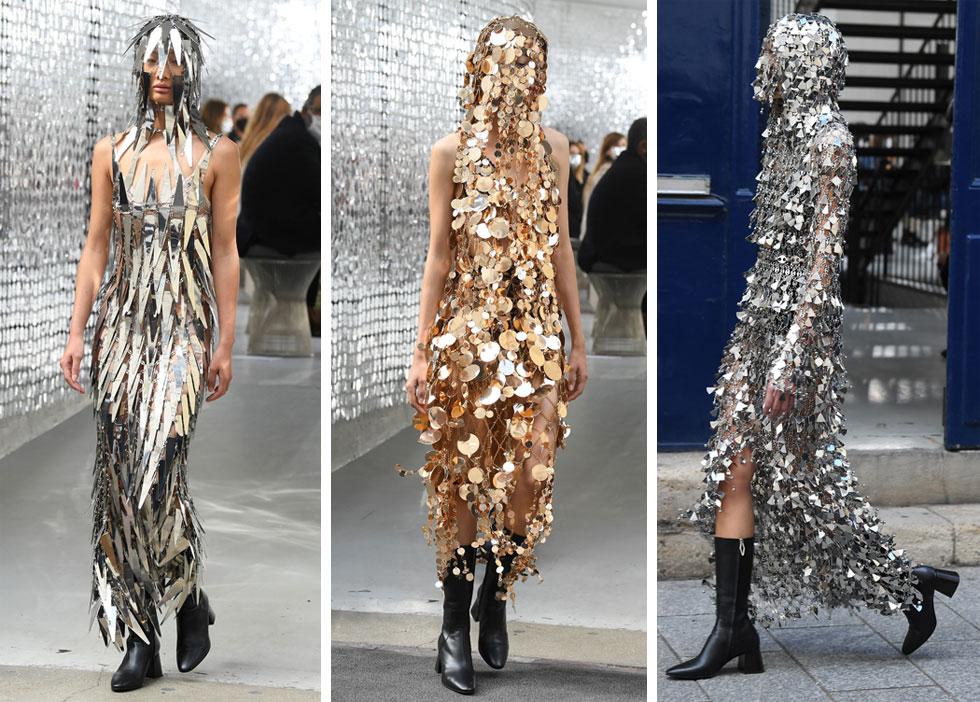 תצוגת האופנה של פאקו רבאן התקיימה בין הפנים לחוץ בניצוחו של המעצב ג'וליאן דוסנה המוכשר. לצד הסגנון הפיוטי והבוהמייני של הבגדים, דוסנה לא שכח את המחווה לבגדי המתכת של בית האופנה, עם שלוש מערכות לבוש מרשרשות וכבדות למראה (צילום: Pascal Le Segretain/GettyimagesIL)