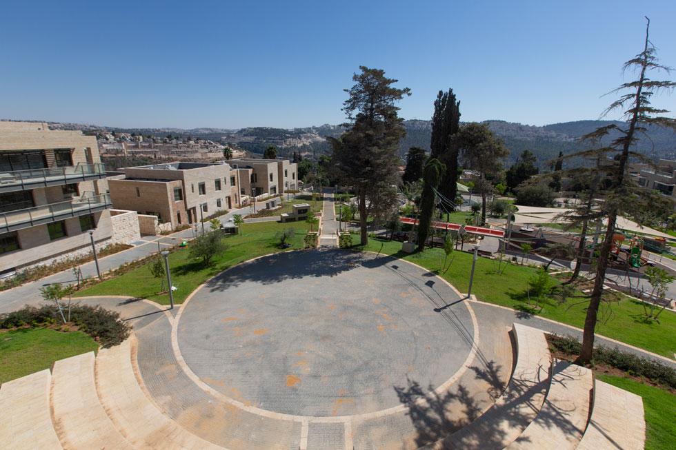 מבט מגג בית ההבראה על הגן שבמרכז המתחם. עץ הארז מימין נראה בשלבי גסיסה (צילום: דור נבו)