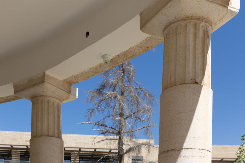 העמודים הניאו-קלאסיים היו חריגים בבנייה המקומית בשנים הללו, אך יוסף ברלין שהיה דווקא מודרניסט החליט לחרוג ממנהגו - ולתכנן את ארזה בהשראת הבית הלבן של נשיא ארה''ב (צילום: דור נבו)
