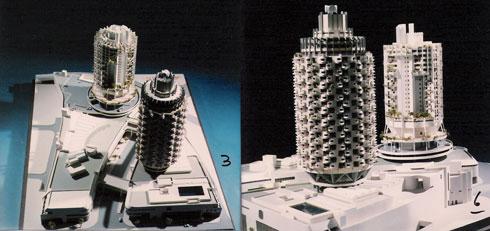 מודלים של המגדל (אוסף משה ומרדכי בן חורין, ארכיון אדריכלות ישראל)