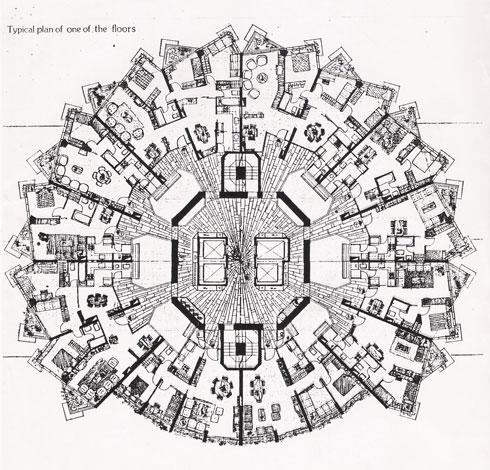 תוכנית קומה במגדל דיזנגוף, אחד הבולטים בארץ (אוסף משה ומרדכי בן חורין, ארכיון אדריכלות ישראל)