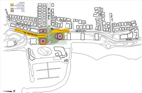 במקום שיקוע מתחת לכיכר - כביש עילי. תישאר גם דרך תת-קרקעית, לשימוש המגדלים ובתי המלון (תוכנית: עיריית תל אביב, מתוך moin.gov.il)