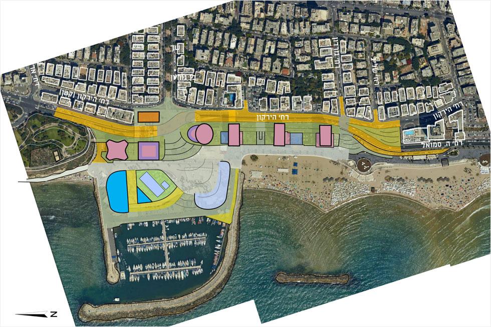 מבנה חדשה למרינה מימין (באפור), משמאל (בכחול), ולמשתמשי בריכת גורדון יוקצה המבנה שמופיע בצורת משולש כחול (תוכנית: עיריית תל אביב, מתוך moin.gov.il)