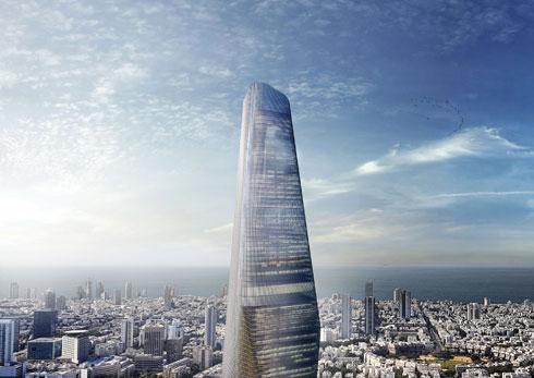 """כך אמור להיראות """"מגדל 120"""" במתחם הבורסה ברמת גן, בתכנון """"ישר אדריכלים""""   (הדמיה: עדי עיני)"""