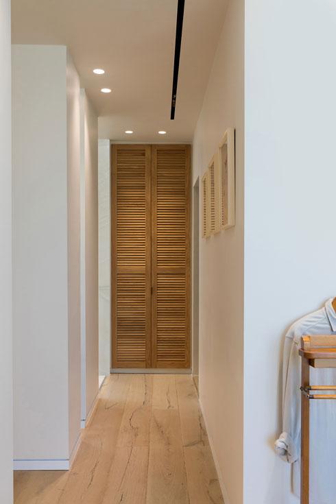 תריס עץ מסתיר את ארון החשמל. מימין הכניסה לחדר הארונות (צילום: שירן כרמל)
