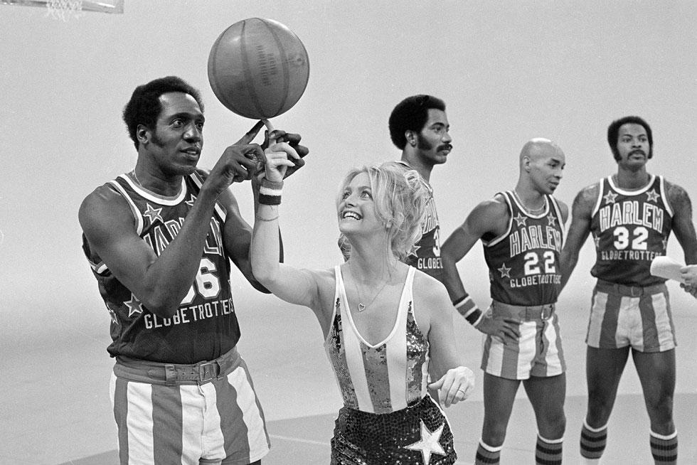 גולדי הון וקבוצת הכדורסל הארלם גלובטרוטרס, 1978 (צילום: AP)