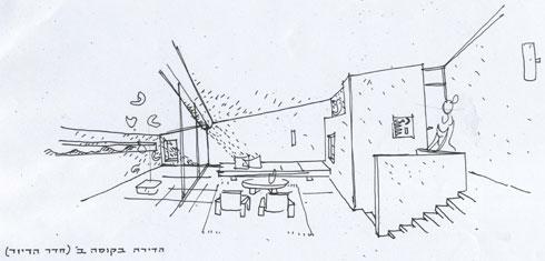 אחת הדירות בפרויקט (שרטוט: באדיבות ארכיון אדריכלות ישראל, תל אביב)