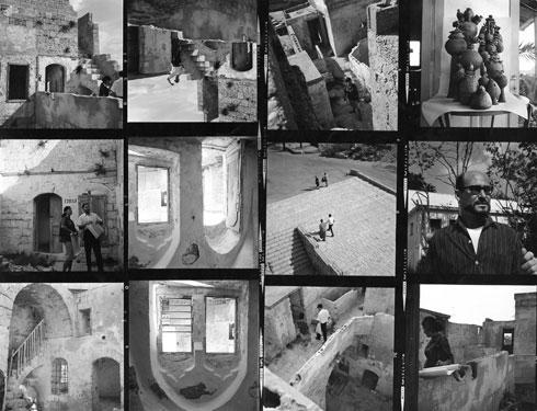 הסטודיו של ציונה שמשי ביפו העתיקה. למרבה האירוניה, דווקא עיצוב הפנים הברוטליסטי הזה נשמר, בשעה שבניינים ברוטליסטיים מרשימים לא (צילום: אוסף שמשי-הירש, ארכיון אדריכלות ישראל)
