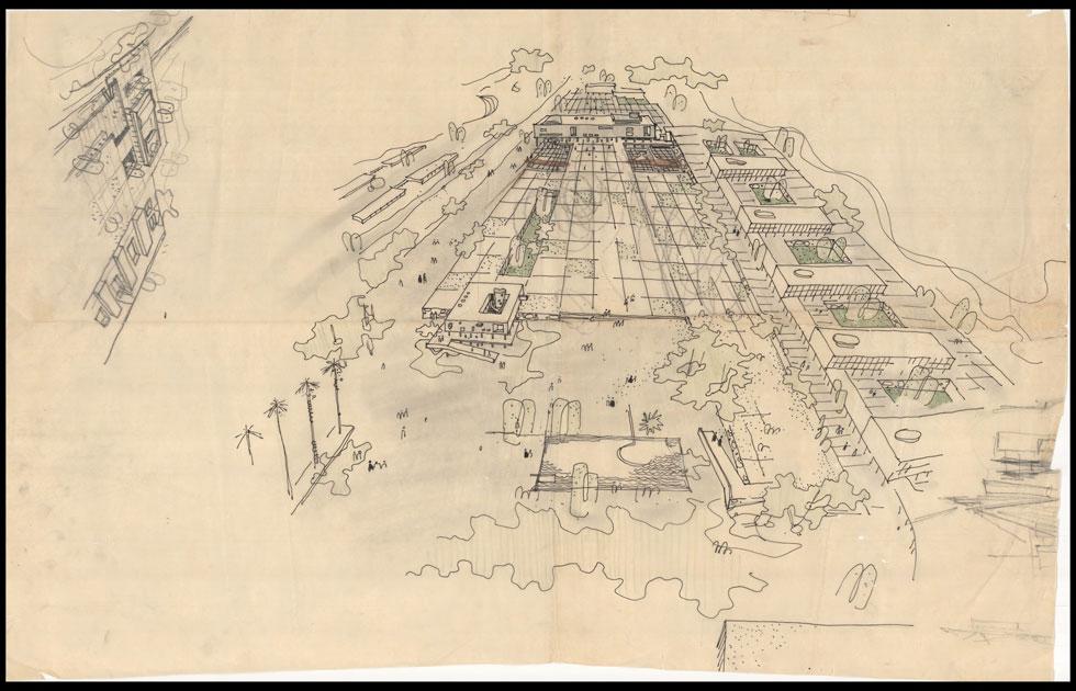 אחד המבנים המרשימים שתוכננו בארץ (צילום: אוסף זיוה ארמוני, ארכיון אדריכלות ישראל)