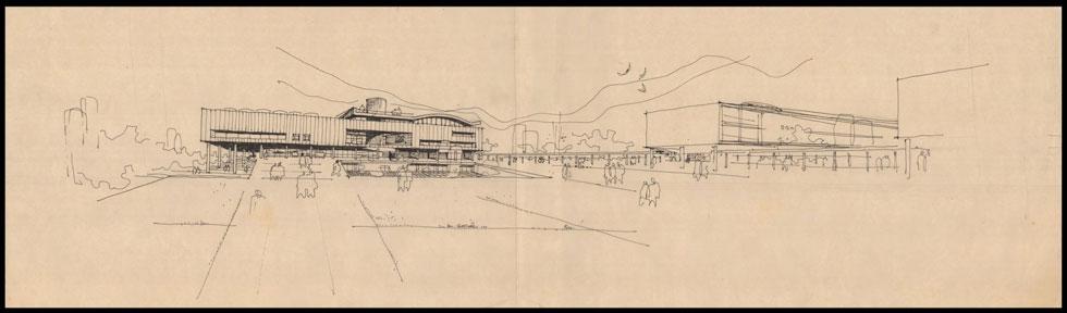 כך תכנן אלכסנדרוני את הספרייה הלאומית (צילום: אוסף זיוה ארמוני, ארכיון אדריכלות ישראל)