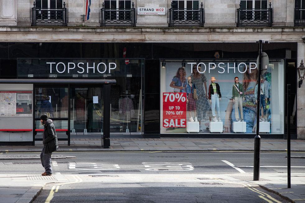 חנות של טופשופ באנגליה במהלך סגר הקורונה (צילום: Hollie Adams/GettyimagesIL)