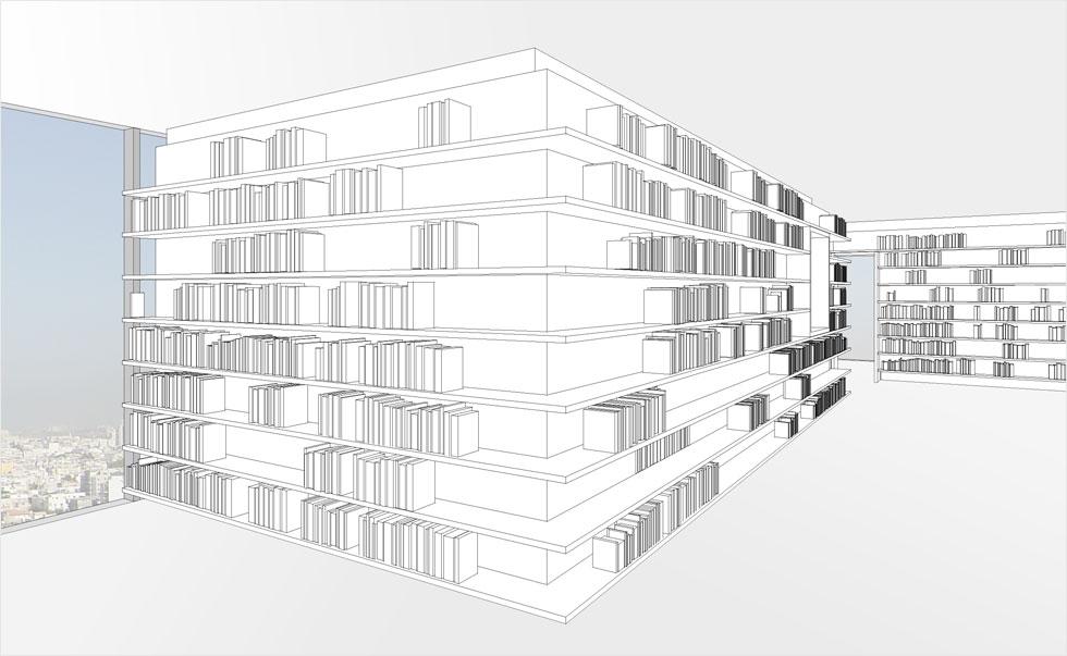 אנחנו רגילים לחשוב על חלוקה פנימית של דירה כחלוקה מקובעת, שאינה ניתנת להזזה אלא בשיפוץ גדול. למה, בעצם? הרעיון של טולה עמיר מארגן את החדרים הניידים, כשהם מוקפים במדפי אחסון ומתמקמים בהתאמה לשימוש המתחלף (הדמיה: אדריכלית הילה רק)