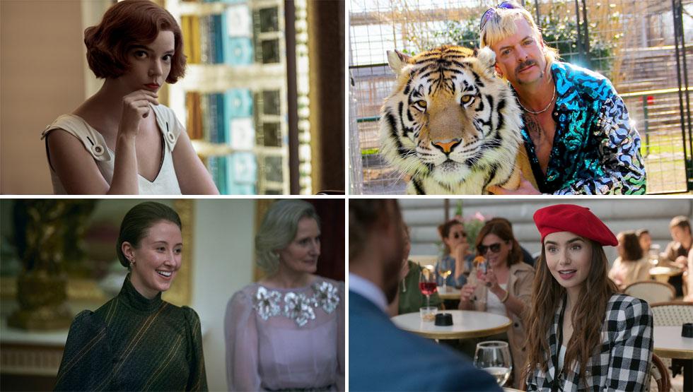 """האופנה חזקה לא פחות מקווי העלילה. """"גמביט המלכה"""", """"טייגר קינג"""", """"אמילי בפריז"""" ו""""הכתר"""" (צילום: Netflix)"""