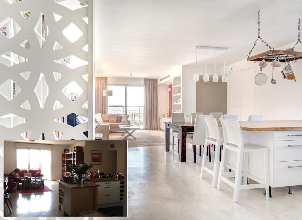 לפני ואחרי. דירה במגדל צמרות (עיצוב: הילה מוטיל צילום: אורית ארנון)