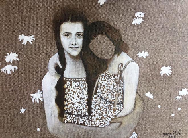 יאנה סטופ עם אחותה הגדולה כפי שצוירו על ידה. אין לה פנים - סמל למחיקת הזהות הרוסית (צילום: אלבום פרטי)