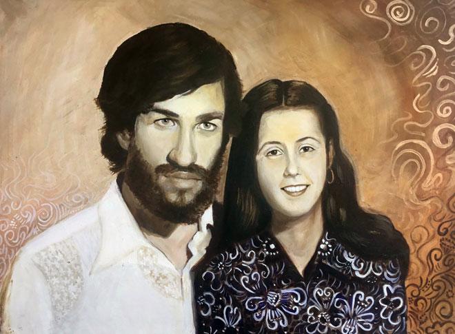 """אמה ואביה כפי שצוירו על ידה. """"בזכות מעמדו של סבי יכולנו לקבל קצת יותר"""" (צילום: אלבום פרטי)"""