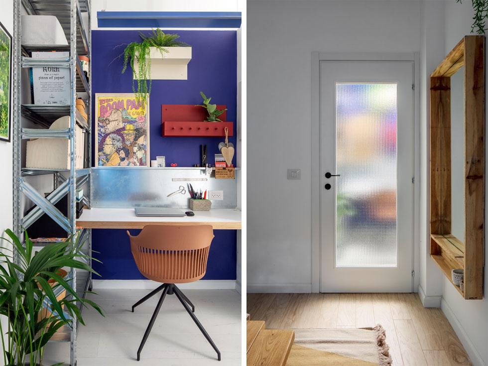 מימין: מבט דרך דלת חדר השינה. חדרון העבודה בנוי מחומרים פשוטים, תעשייתיים, ונצבע בגוונים עזים, שמחפים על היעדר האור הטבעי (צילום: אביעד בר נס)