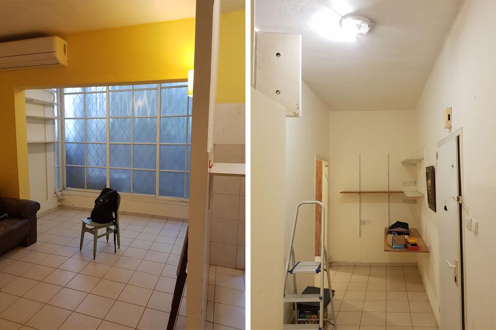 מימין: הכניסה לפני השיפוץ. זו היתה דירה ישנה שהושכרה שנים, ובקיץ האחרון, בין סגר ראשון לשני, הוחלט לשפצה. משמאל: מרפסת הסלון הסגורה, לפני השיפוץ (צילום: סטודיו 37)