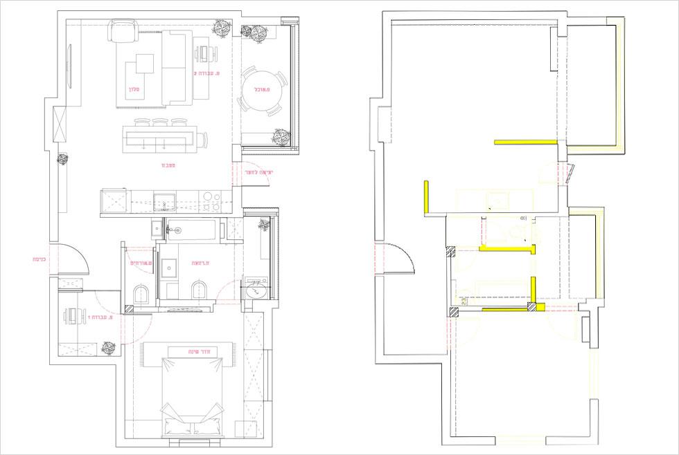 מימין: תוכנית הדירה לפני השיפוץ (הקירות שנהרסו בצהוב). משמאל: החלוקה החדשה. הפונקציות הרטובות נותרו במרכז, אך אין פינה לא מנוצלת (שרטוט: סטודיו 37)