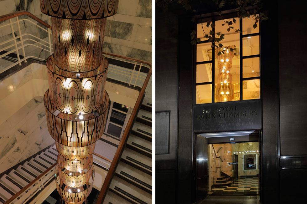 נברשת באורך 13 מטרים במשרדי הבנק המלכותי במלבורן, בבניין אר דקו לשימור (צילום: באדיבות סטודיו אילנאל)