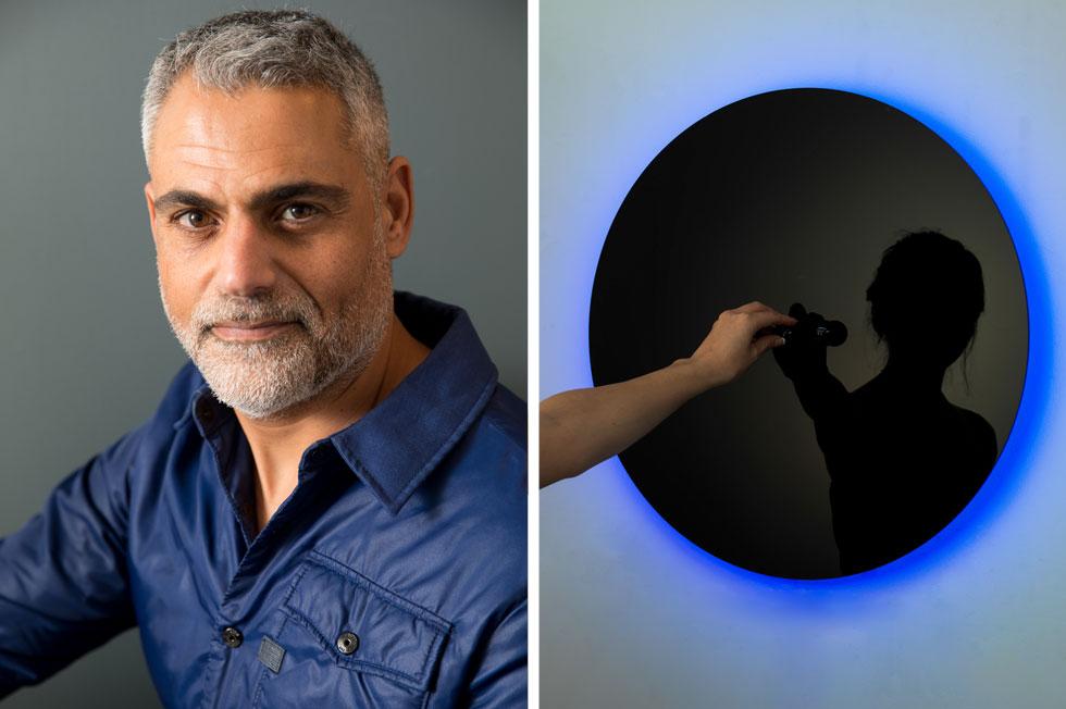 מימין: המנורה בגודלה הרגיל ובצורתה האינטראקטיבית. ''אם רוצים ליצור שינוי, צריך להיות אקטיבים'', אומר המעצב אילן אל (בצילום משמאל), שחקר את השפעתה של תאורה צבעונית על הפסיכולוגיה האנושית, במסגרת עבודת המאסטר שלו (צילום: באדיבות סטודיו אילנאל)