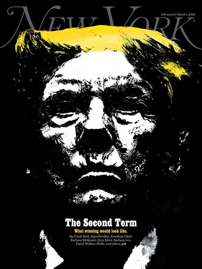 המגזין ''ניו יורק'' עסק בפברואר בספקולציות על קדנציה שנייה של טראמפ. Fede Yankelevich אייר דמות אפלה, קודרת ומאיימת