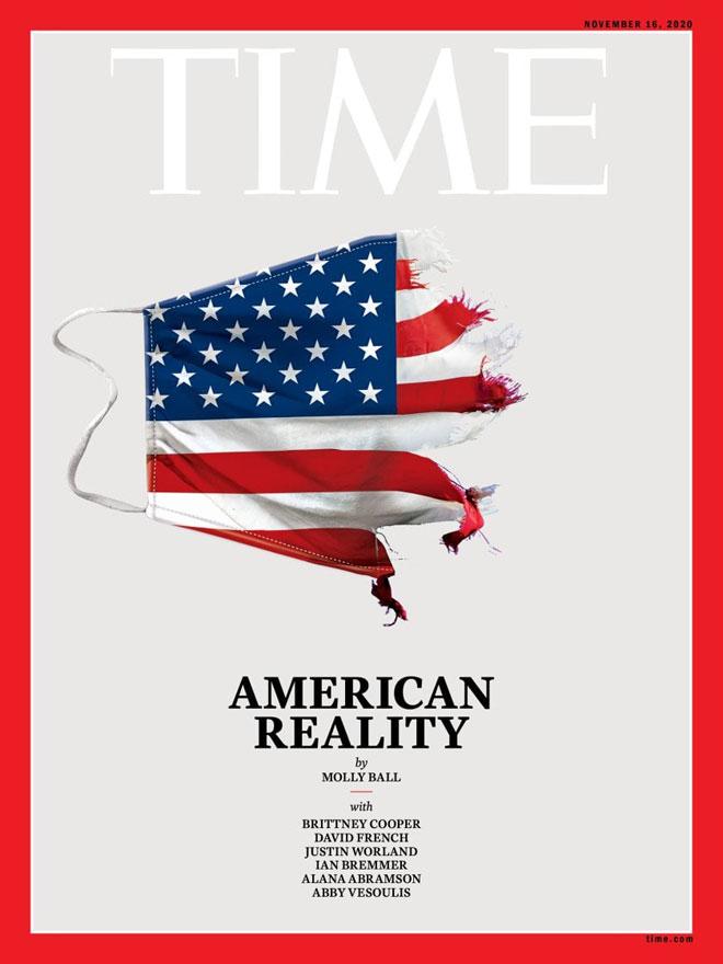 דגל ארה''ב או מסיכה שנקרעה מעל הפנים? הטיים, נובמבר 2020