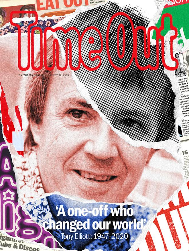 טיים אאוט לונדון, במחווה למייסד המגזין טוני אליוט, שהלך לעולמו ביולי השנה, עם שער שמתהדר בלוגו המקורי