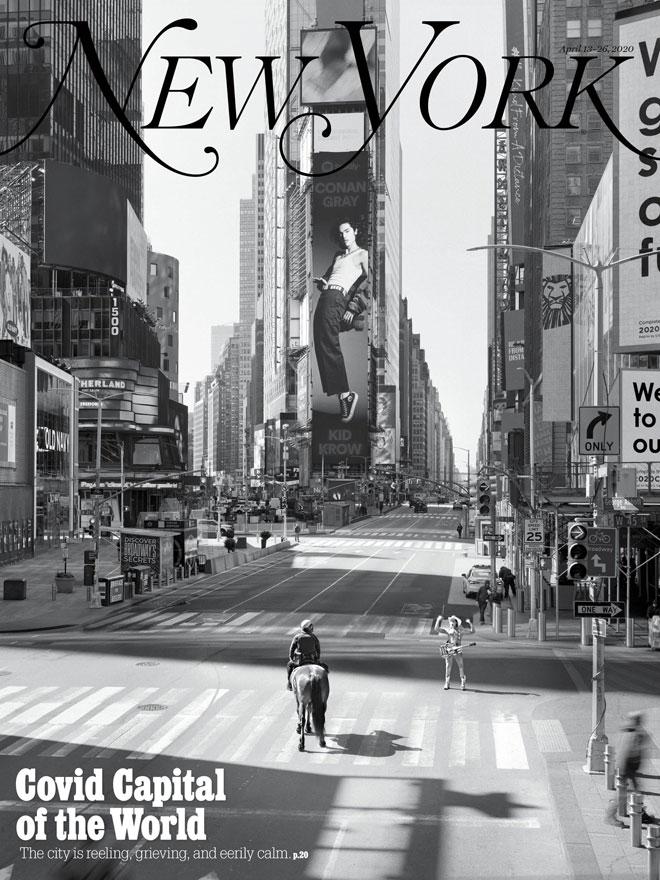 צילום מהפנט של רחובותיה השוממים של העיר הגועשת בשגרה ליווה את הכתבה המרכזית של המגזין ''ניו יורק'' באפריל. צילום: Alexei Hay