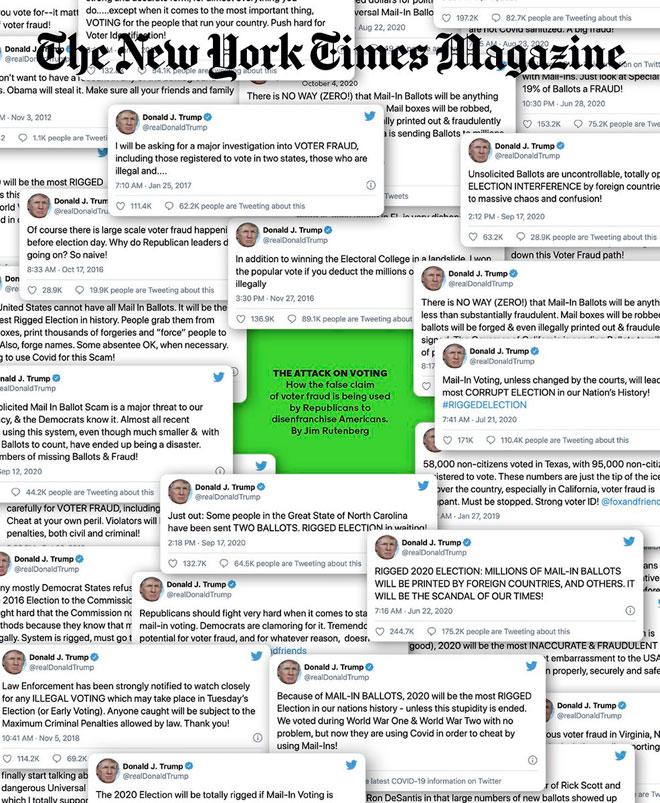 הניו יורק טיימס מגזין ממחיש את ההתקפה על בחירתם של האמריקאים, באמצעות שער קלסטרופובי, שמשקף את הפאניקה של טראמפ. השער הזה פורסם חודש לפני הבחירות, בתחזית מדויקת של תוצאותיהן