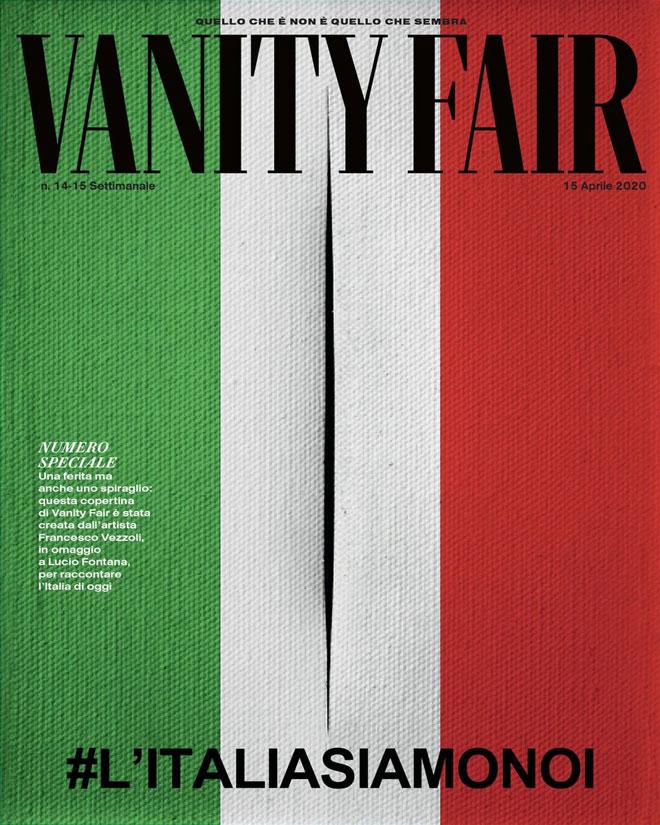''אנחנו איטליה'', נכתב בבסיס השער העוצמתי של ''ואניטי פייר'' איטליה באפריל. השער הוא יצירה מיוחדת שהוזמנה מהאמן פרנצ'סקו וזולי. הוא הציג בד בצבעי דגל איטליה, עם חתך המסמל פצע, או סדק. העבודה נמכרה במכירה פומבית והכנסותיה הועברו לתמיכה בעסקים מקומיים איטלקיים