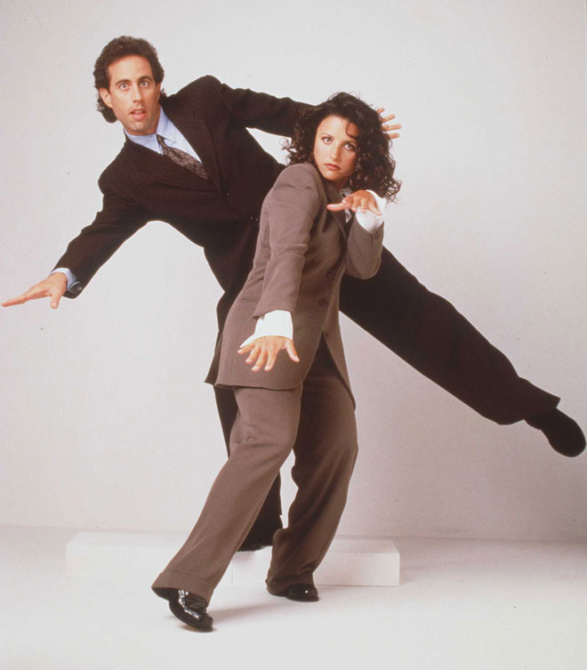"""אם ממש רוצים לפרגן, אפשר לכנות את המראה הזה """"עסקי נינוח"""". עם ג'רי סיינפלד בשנות ה-90 (צילום: GettyimagesIL)"""