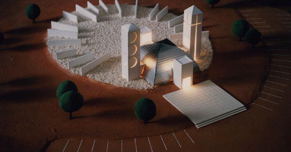 """דגם אתר ההנצחה, שהחזיק מעמד בקושי יומיים (צילום: באדיבות ארכיון """"מרכז רכטר לאדריכלות"""")"""