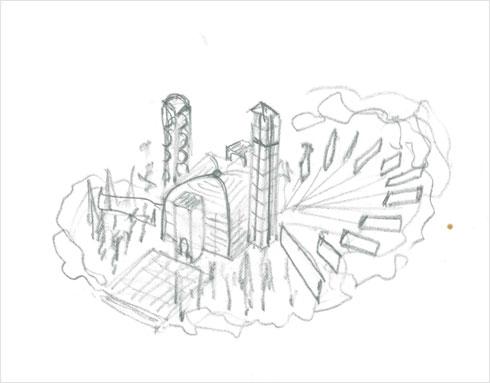 """מבנה דמוי אוהל במרכז, וסביבו שני המגדלים (רישום: באדיבות ארכיון """"מרכז רכטר לאדריכלות"""")"""