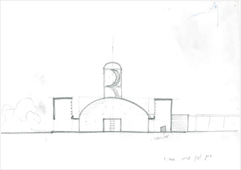 """יעקב ואמנון רכטר החלו בסקיצות, והעבירו את הטיפול לאדריכל מירון לוי שעבד במשרד לאורך אותו עשור (רישום: באדיבות ארכיון """"מרכז רכטר לאדריכלות"""")"""