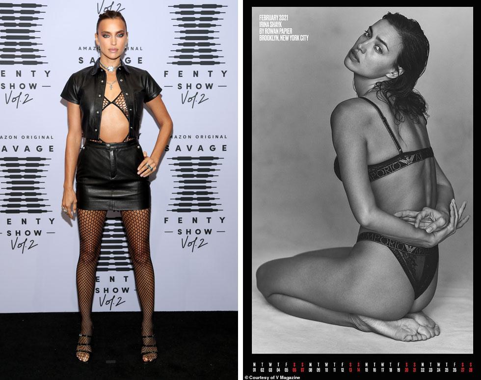 אירינה שייק מייצגת את חודש פברואר בלוח השנה של מגזין V (מימין) ועל השטיח האדום (צילומים: Rowan Papier, Jerritt Clark/GettyimagesIL)