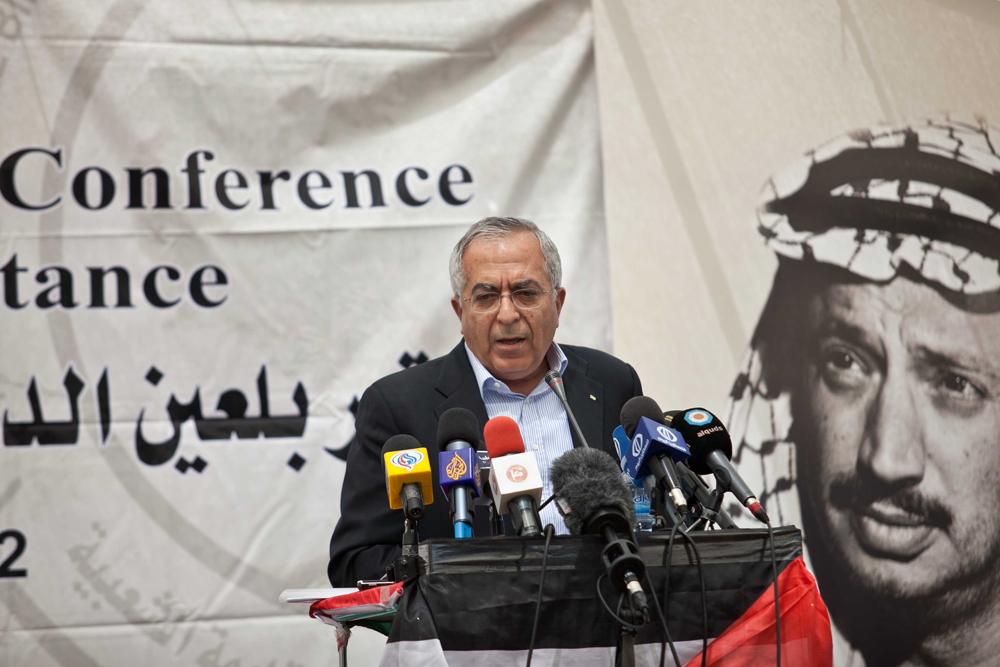 El ex primer ministro palestino Salam Fayyad