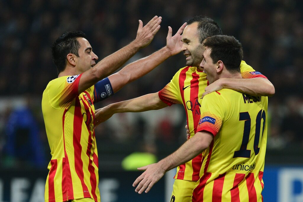 Messi misses his two friends.  With Iniesta and Xavi