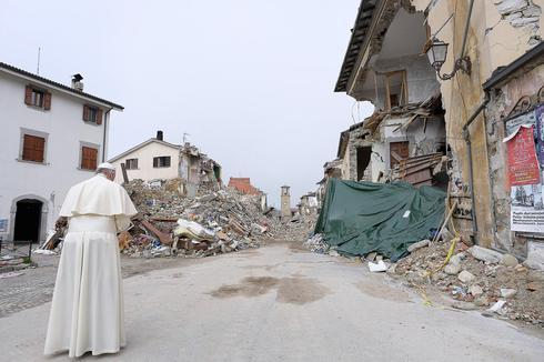 העיירה האיטלקית אמטריצ'ה, לאחר רעידת האדמה ב-2016